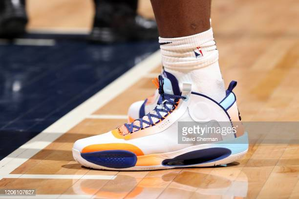The sneakers worn by Zion Williamson of the New Orleans Pelicans during the game against the Minnesota Timberwolves on March 8 2020 at Target Center...