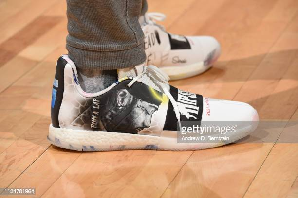 The sneakers worn byPlayer Development Irving Roland of the Houston Rockets against the LA Clippers on April 3 2019 at STAPLES Center in Los Angeles...