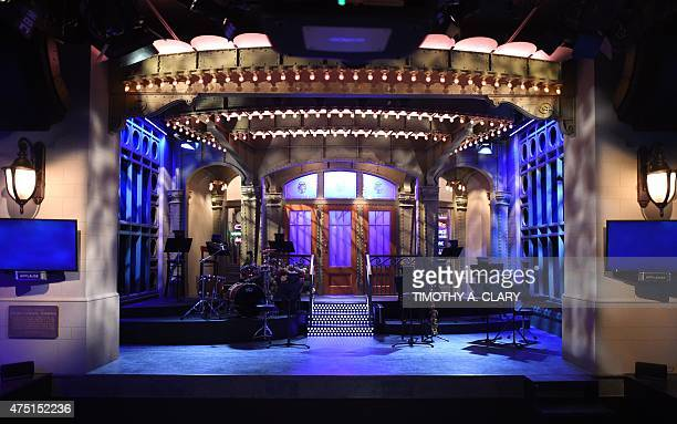 The SNL stage on display during a media preview on May 29 2015 at the Saturday Night Live The Exhibition celebrating the NBC programs 40year history...