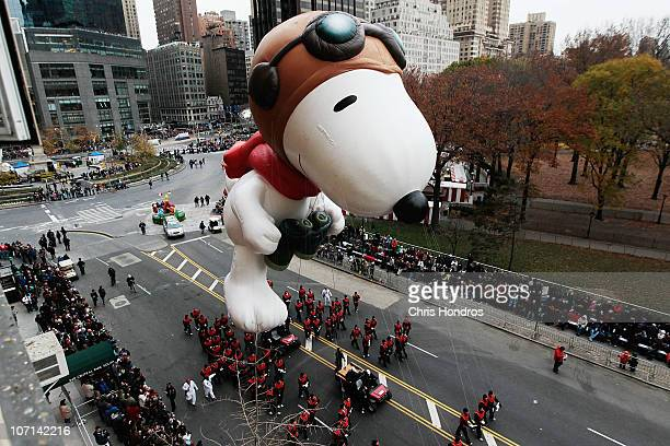 The Snoopy float glides down Central Park South during the Macy's Thanksgiving Day parade November 25 2010 in New York City This year's annual parade...