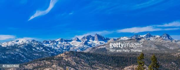 The snow capped Minarets ridge of the Sierra Nevada Range, CA
