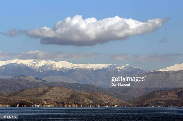 The snow covered mountains in Albania can be seen in the distance from Corfu Town on February 5 2010 in Corfu Greece