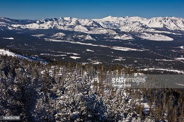 The snow covered mountains in South Lake Tahoe and airport are viewed from the Heavenly Ski Resort observation deck on March 9 near Stateline Nevada...