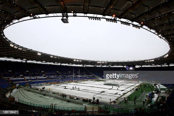 The snow covered pitch as seen prior to kickoff during the Six Nations match between Italy and England at Stadio Olimpico on February 11 2012 in Rome...