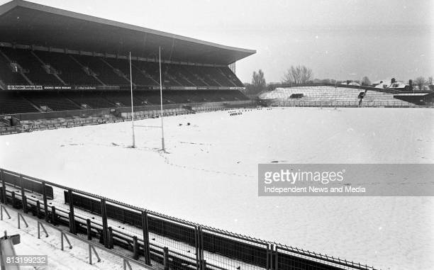 The Snow covered the Football Pitch at Lansdowne Road Dublin