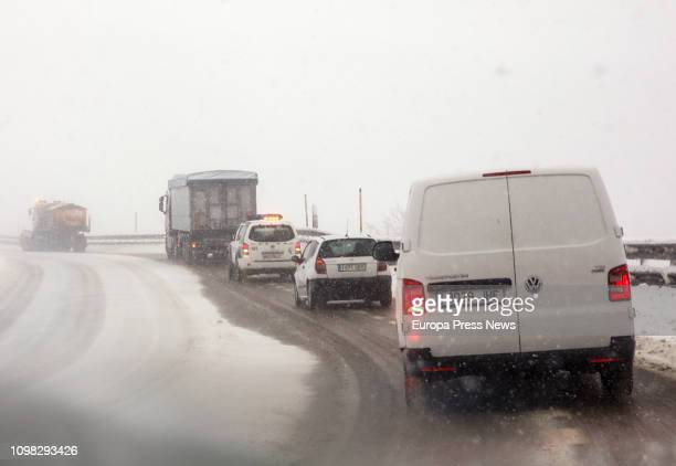 The snow covers Pajares in Asturias as 33 Spanish provinces are on alert for bad weather on January 22 2019 in Asturias Spain