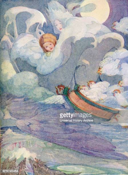 The Snow Queen illustration from The Golden Wonder Book published 1934 Kay's sledge was fastened to one of the white fowls which flew with it on its...