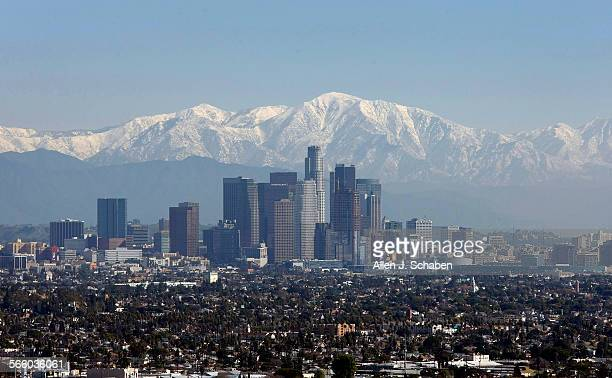 The snow–capped Mount Baldy and San Gabriel Mountains create a scenic backdrop for the downtown Los Angeles skyline as viewed from the Kenneth Hahn...
