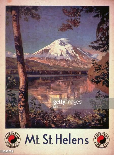 The snow-capped peak of Mount St Helens, an active volcano in the Cascade Range, Washington State. Original Artist: By Gustav Krollmann.