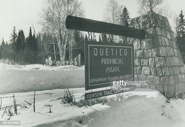 The snowcovered entrance to Quetico Park from the northbut many more visitors are from the US and enter from the south