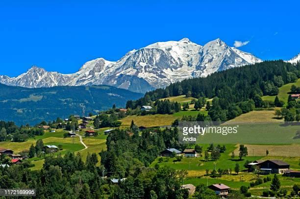 The snow-covered Mont Blanc Massif, Megeve, Haute-Savoie department , France.