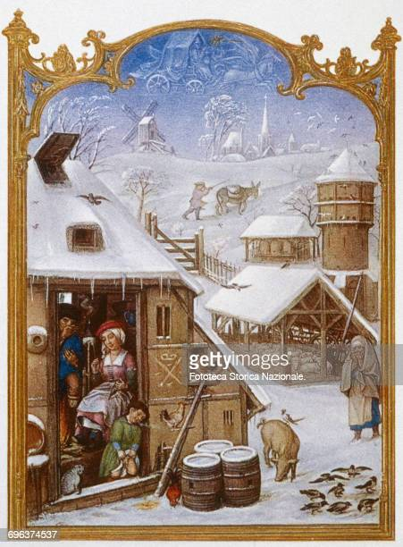 The snowfall in February illumination from the Grimani Breviary Facsimile Heliotype 1910 approx