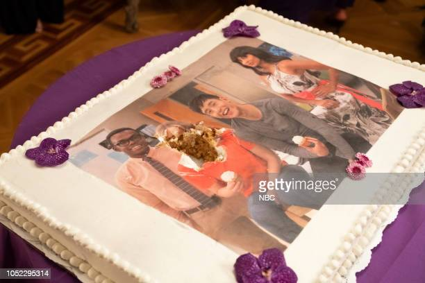 PLACE The Snowplow Episode 304 Pictured Cake picturing William Jackson Harper as Chidi Manny Jacinto as Jason Medoza Jameela Jamil as Tahani