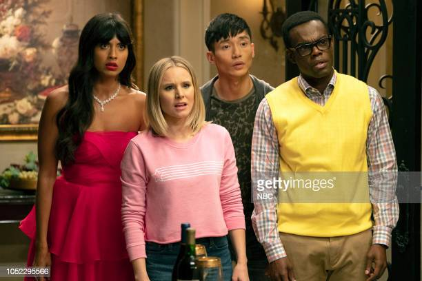 "The Snowplow"" Episode 304 -- Pictured: Jameela Jamil as Tahani, Kristen Bell as Eleanor Shellstrop, Manny Jacinto as Jason Mendoza, William Jackson..."