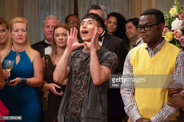 "The Snowplow"" Episode 304 -- Pictured: Manny Jacinto as Jason Mendoza, William Jackson Harper as Chidi --"