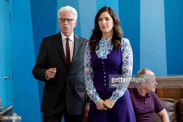 "The Snowplow"" Episode 304 -- Pictured: Ted Danson as Michael, D'Arcy Carden as Janet --"