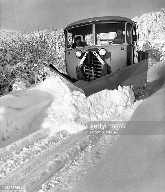 The snowplow on the roads of Laffrey 1962 in Laffrey France