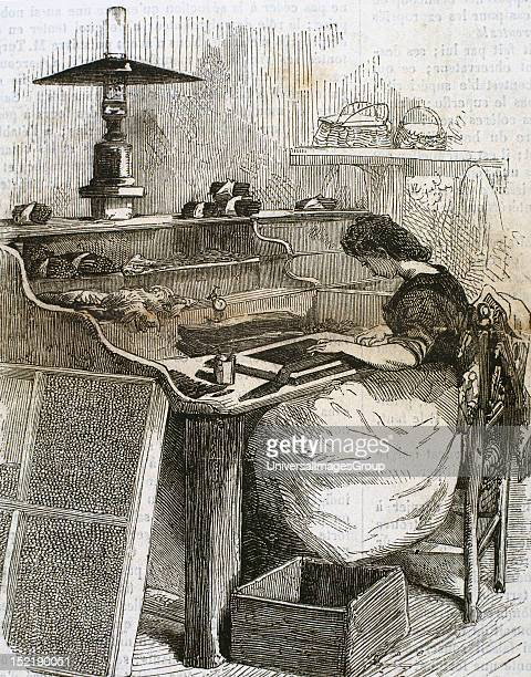 The snuff industry Woman rolling cigars France Engraving1885