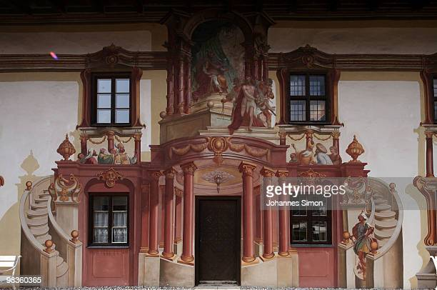 The so called Pilatus house decorated with baroque style murals is seen at historic city center on April 9 2010 in Oberammergau Germany Oberammergau...
