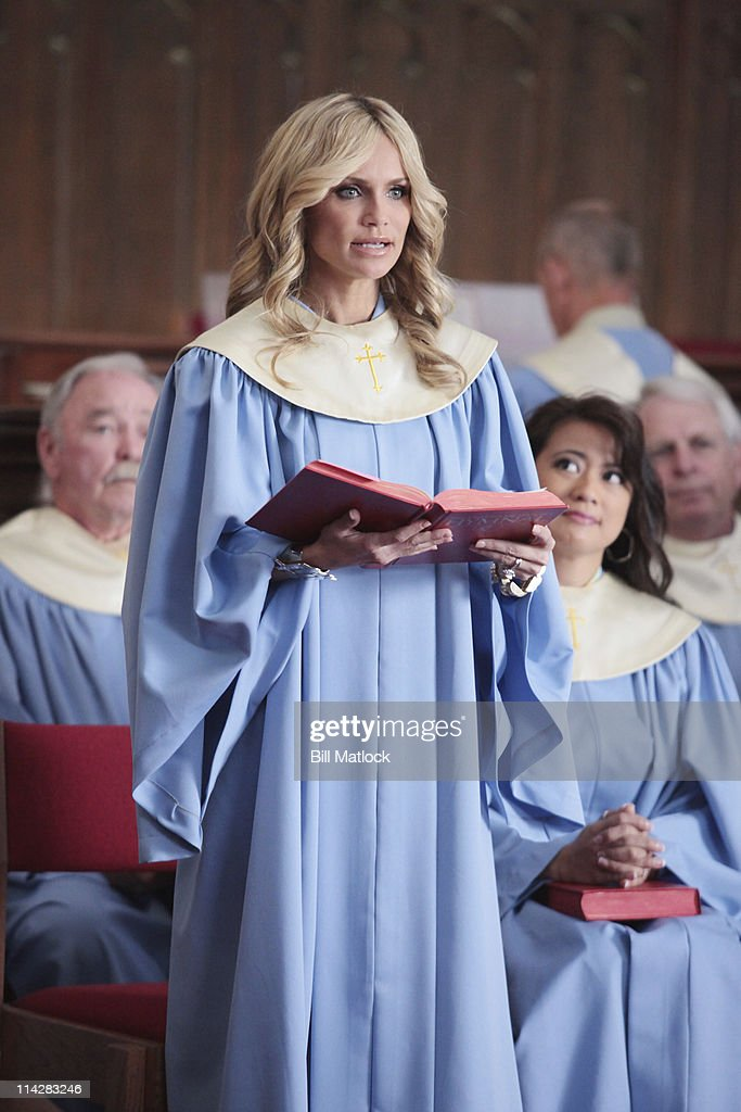 BELLES - The soap returns to Dallas in this wicked new drama that shows that you can go home again... but only if you're ready to face the sins of your past. 'Good Christian Belles' stars Leslie Bibb as Amanda Vaughn, Kristin Chenoweth as Carlene Cockburn, Annie Potts as Gigi Stopper, Jennifer Aspen as Sharon Peacham, Miriam Shor as Cricket Caruth-Reilly, Marisol Nichols as Heather Cruz, Brad Beyer as Zack Peacham, Mark Deklin as Blake Reilly and David James Elliott as Ripp Cockburn. Based on Kim Gatlin's hit book, Good Christian Bitches, 'Good Christian Belles' is executive-produced by Darren Star, Robert Harling and Aaron Kaplan. The pilot is written by Robert Harling and executive-produced and directed by Alan Poul. 'Good Christian Belles' is produced by ABC Studios. (Photo by Bill Matlock/ABC via Getty Images)KRISTIN