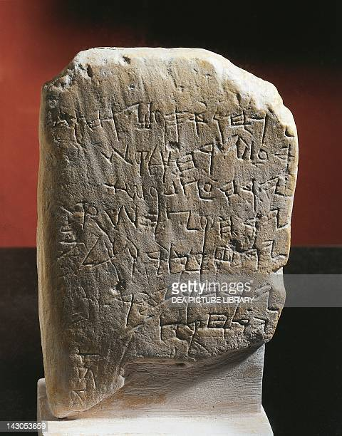 The socalled Gezer calendar stone with an ancient Hebrew inscription dedicated to the agricultural calendar Jewish civilisation 925 BC Istanbul...