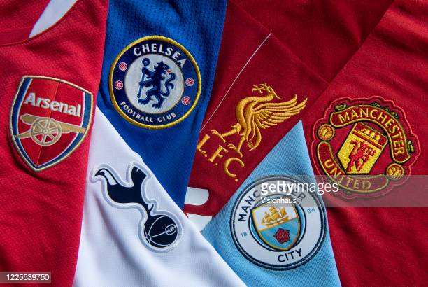 The so-called top six Premier League club crests, Liverpool, Manchester City, Manchester United, Chelsea, Tottenham Hotspur and Arsenal on their...