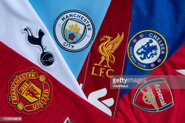 The socalled top six Premier League club crests Liverpool Manchester City Manchester United Chelsea Tottenham Hotspur and Arsenal on their first team...