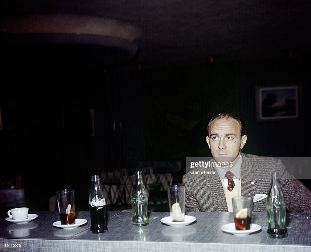 The soccer player Alfredo Di Stefano (Real Madrid) in a cafe, Madrid (Spain).