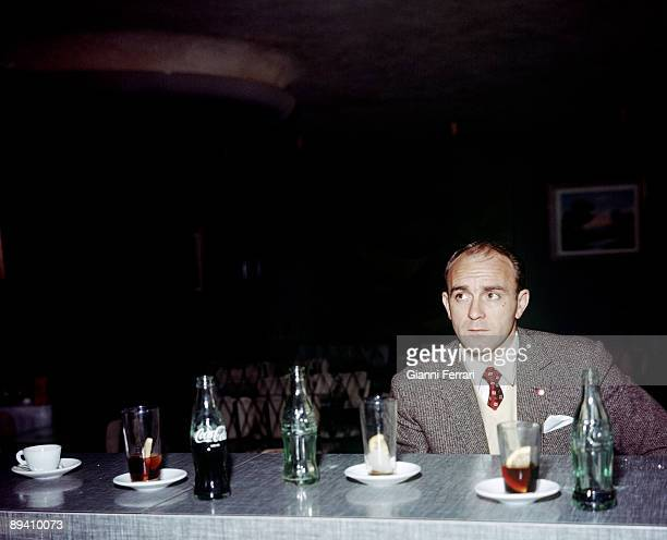 The soccer player Alfredo Di Stefano in a cafe Madrid