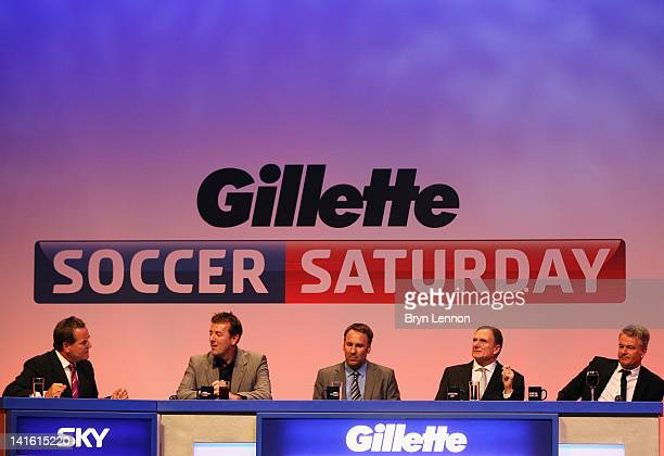 The Soccer Saturday panel of Jeff Stelling Matt Le Tissier Paul Merson Phil Thompson and Charlie Nicholas during Gillette Soccer Saturday Live with...