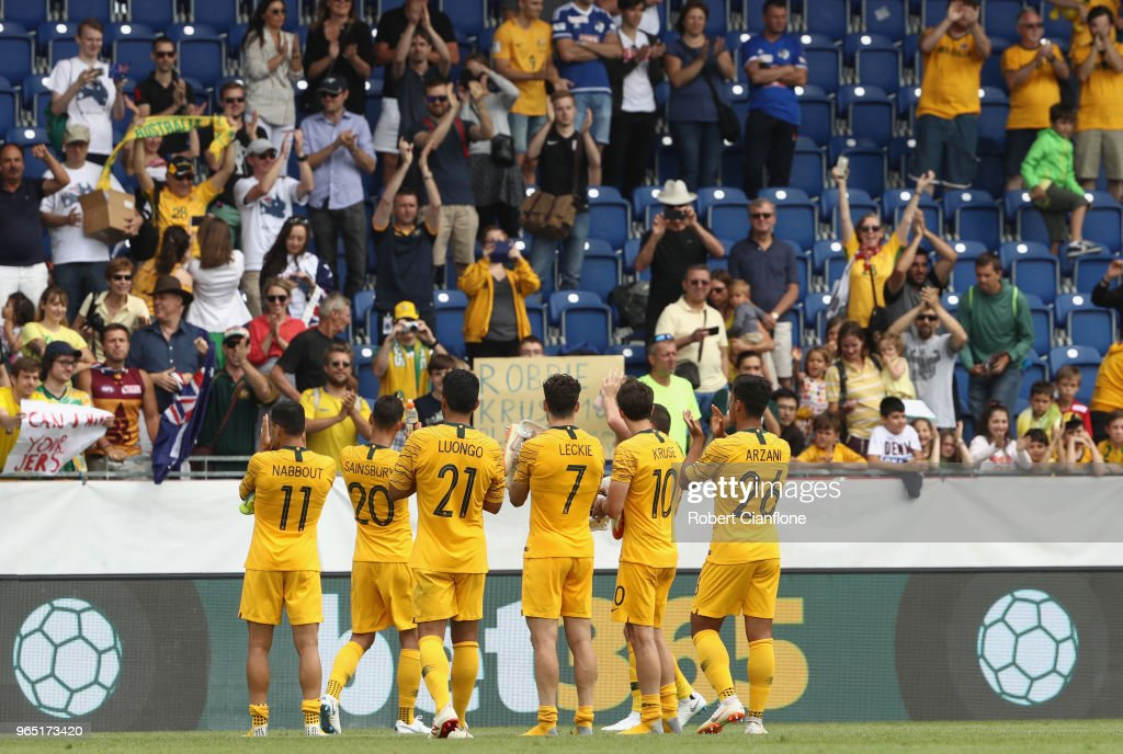 The Socceroos acknolwedge the fans after the International Friendly match between the Czech Republic and Australia Socceroos at NV Arena on June 1, 2018 in Sankt Polten, Austria.
