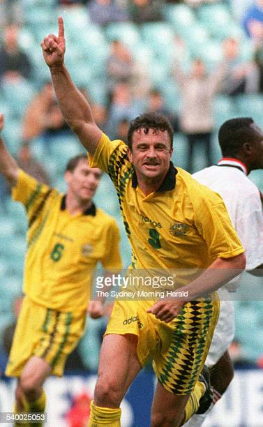 The Socceroos' Graham Arnold celebrates after heading the ball into the net for a goal against Ghana at the Sydney Football Stadium 18 June 1995 SMH...