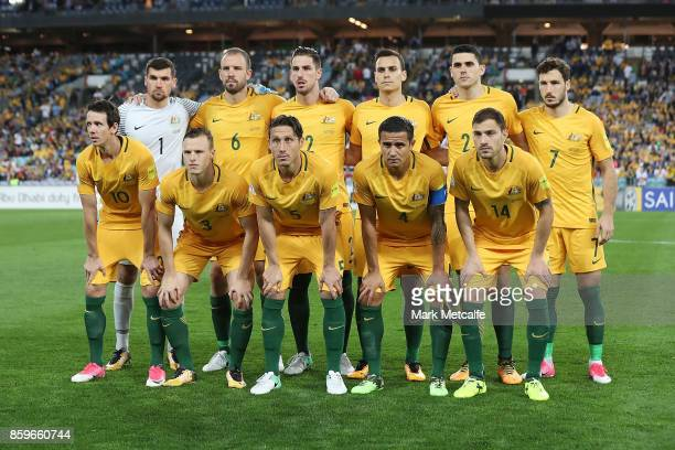 The Socceroos line up for a team photo during the 2018 FIFA World Cup Asian Playoff match between the Australian Socceroos and Syria at ANZ Stadium...
