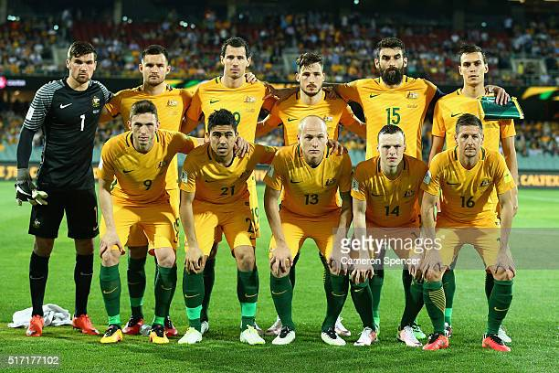 The Socceroos pose for a team shot during the 2018 FIFA World Cup Qualification match between the Australia Socceroos and Tajikistan at the Adelaide...