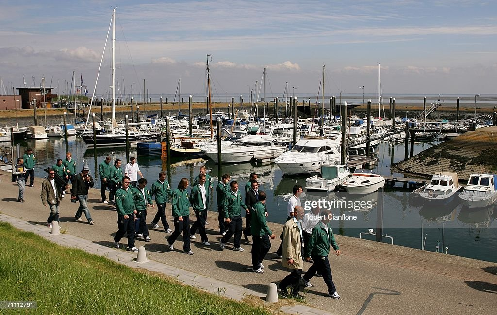 The Socceroos return from a fishing trip while on break from preparations by Australia for the 2006 World Cup held at the Yereske Village June 2, 2006 in Yereske, Netherlands.