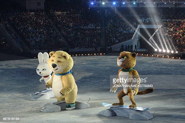 The Sochi Winter Olympic games official mascots, the Leopard, the Polar Bear, and the Hare, perform during the Opening Ceremony of the Sochi Winter...