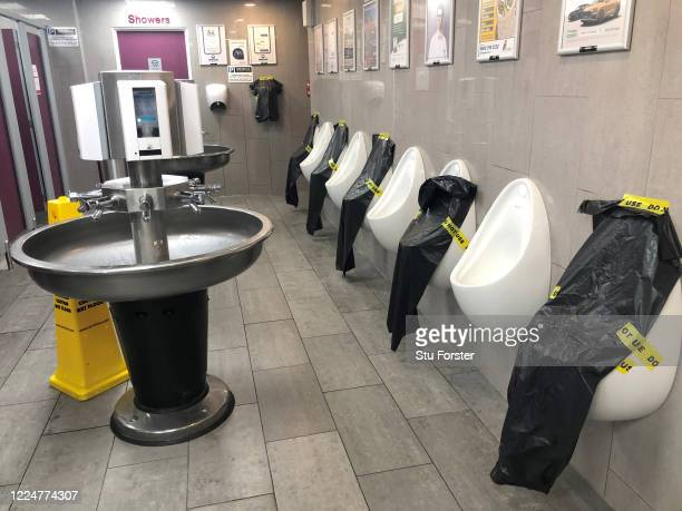The social distancing practice in the gents toilets pictured at Taunton Deane Motorway Service station on May 14, 2020 in Taunton, England. The prime...