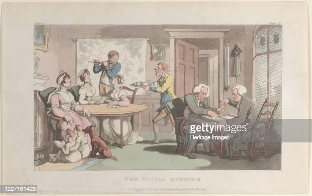"""The Social Evening, from """"The Vicar of Wakefield"""", May 1, 1817. Artist Thomas Rowlandson."""