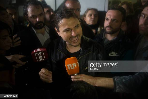 The social leader near to Pope Francis Juan Grabois talks with the media minutes before be realeased in the front door of the Police Station number...