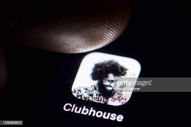 The social networking app 'Clubhouse' is pictured on a smartphone screen on January 18, 2021 in Berlin, Germany.