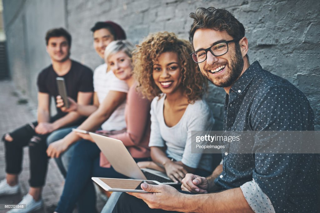 The social networking row : Stock Photo