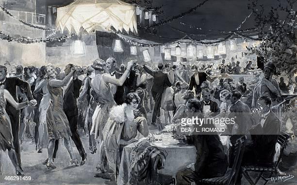 The social season on the island of Capri by Ugo Matania tempera in black and white