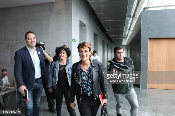 The socialist candidate to the presidency of Navarra Maria Chivite the socialist executive Public Administration secretary Inma Jurio and the...