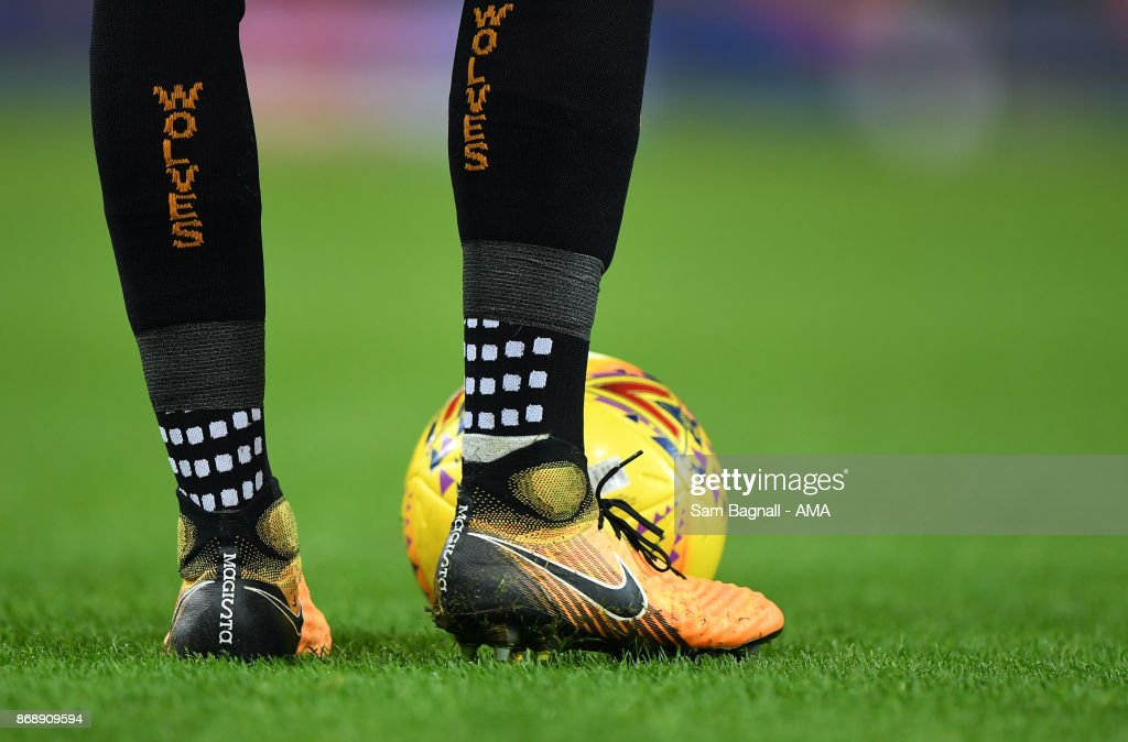 The socks of Wolverhampton Wanderers during the Sky Bet Championship match between Norwich City and Wolverhampton at Carrow Road on October 31, 2017 in Norwich, England.