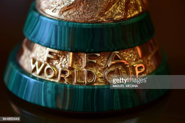 The socle of the first replica of the FIFA football World Cup Trophy is pictured at the Italian trophy and medal manufacturer GDE Bertoni is pictured...