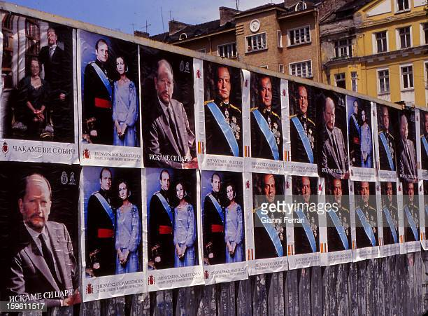 The Sofia streets plastered with portraits of the Spanish King Juan Carlos and Sofia and the Bulgarian king Simeon in exile during the visit of the...