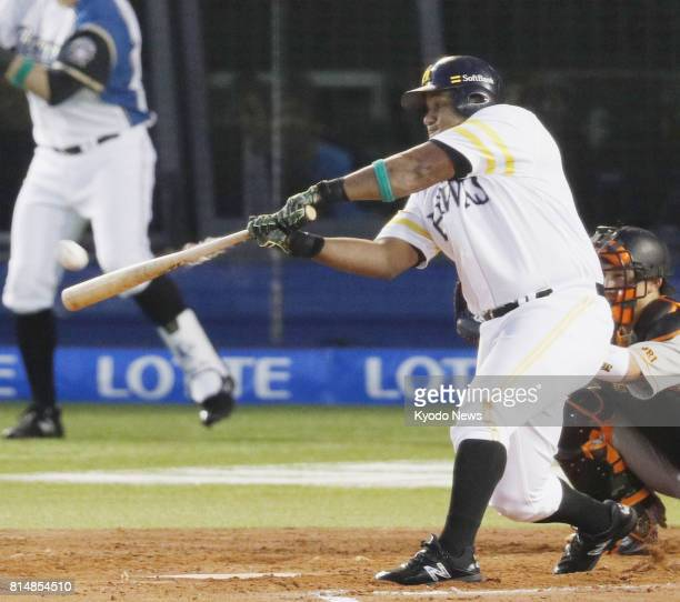 The SoftBank Hawks' Alfredo Despaigne hits a gametying homer in the fourth inning as the Pacific League came from behind to beat the Central League...