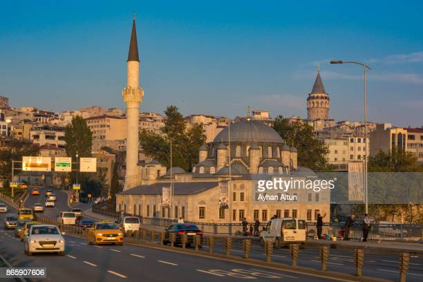 The Sokollu Mehmet Pasha Mosque complex and Galata Tower in Azapkapi, Istanbul seen from the Golden Horn