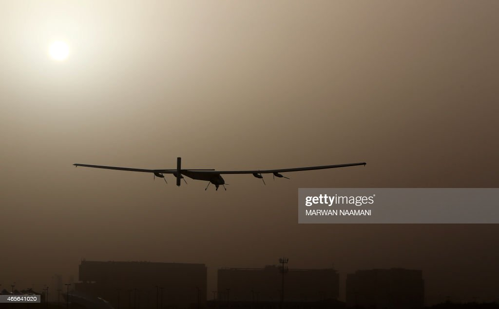 The Solar Impulse 2, takes off from al-Bateen airport in Abu Dhabi as it heads to Muscat, on March 9, 2015, in the first attempt to fly around the world in a plane using solar energy. The first attempt to fly around the world in a plane using only solar power launched on March 9 in Abu Dhabi in a landmark journey aimed at promoting green energy.