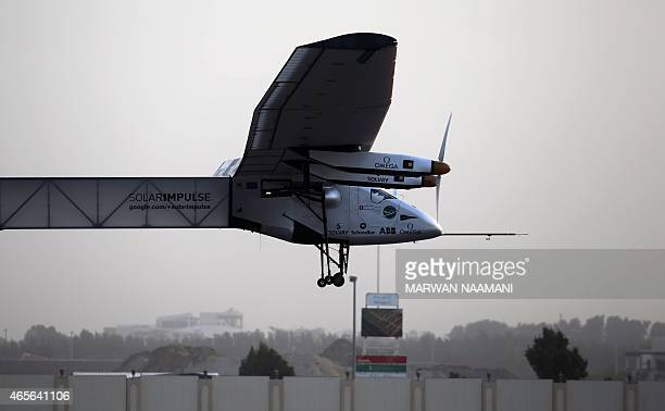 The Solar Impulse 2 takes off from alBateen airport in Abu Dhabi as it heads to Muscat on March 9 in the first attempt to fly around the world in a...